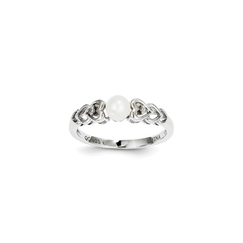 Girls Birthstone & Diamond Heart Ring - Genuine Diamond & Freshwater Cultured Pearl Birthstone - Sterling Silver Rhodium - Size 6