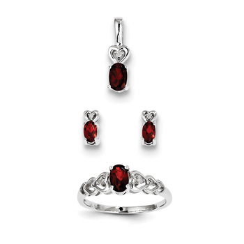 "Girls Birthstone Heart Jewelry - Genuine Garnet Birthstones - Size 5 Ring, Earrings, and Necklace Set - Sterling Silver Rhodium - 16"" adj. chain included - 3 Item Set - Save $15 with this set"