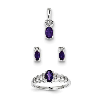 "Girls Birthstone Heart Jewelry - Genuine Amethyst Birthstones - Size 5 Ring, Earrings, and Necklace Set - Sterling Silver Rhodium - 16"" adj. chain included - 3 Item Set - Save $15 with this set"