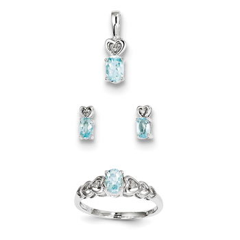 "Girls Birthstone Heart Jewelry - Genuine March Birthstones - Size 5 Ring, Earrings, and Necklace Set - Sterling Silver Rhodium - 16"" adj. chain included - 3 Item Set - Save $15 with this set"