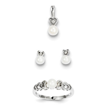 "Girls Birthstone Heart Jewelry - Freshwater Cultured Pearl - Size 5 Ring, Earrings, and Necklace Set - Sterling Silver Rhodium - 16"" adj. chain included - 3 Item Set - Save $15 with this set"