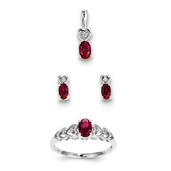 "Girls Birthstone Heart Jewelry - Created Ruby Birthstones - Size 5 Ring, Earrings, and Necklace Set - Sterling Silver Rhodium - 16"" adj. chain included - 3 Item Set - Save $15 with this set"