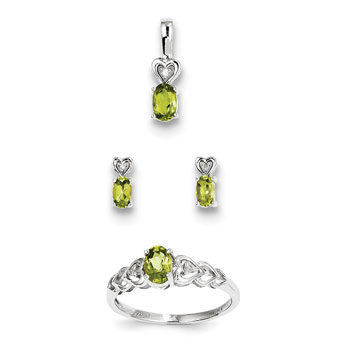 "Girls Birthstone Heart Jewelry - Genuine Peridot Birthstones - Size 5 Ring, Earrings, and Necklace Set - Sterling Silver Rhodium - 16"" adj. chain included - 3 Item Set - Save $15 with this set"