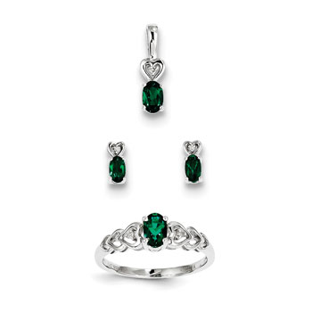 "Girls Birthstone Heart Jewelry - Created Emerald Birthstones - Size 6 Ring, Earrings, and Necklace Set - Sterling Silver Rhodium - 16"" adj. chain included - 3 Item Set - Save $15 with this set"