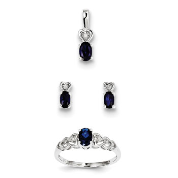 "Girls Birthstone Heart Jewelry - Created Blue Sapphire Birthstones - Size 6 Ring, Earrings, and Necklace Set - Sterling Silver Rhodium - 16"" adj. chain included - 3 Item Set - Save $15 with this set"