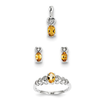 "Girls Birthstone Heart Jewelry - Genuine Citrine Birthstones - Size 6 Ring, Earrings, and Necklace Set - Sterling Silver Rhodium - 16"" adj. chain included - 3 Item Set - Save $15 with this set"