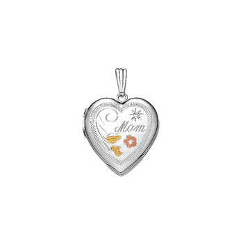 "Mom Tri-Color Genuine Diamond 19mm Keepsake Heart Photo Locket - Sterling Silver Rhodium - Engravable on back - 18"" chain included"