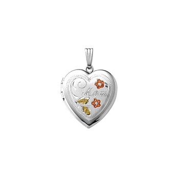 "Mom Tri-Color 19mm Keepsake Heart Photo Locket - Sterling Silver Rhodium - Engravable on back - 18"" chain included"