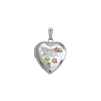"Tri-Color #1 Grandma 19mm Keepsake Heart Photo Locket - Sterling Silver Rhodium - Engravable on back - 18"" chain included"