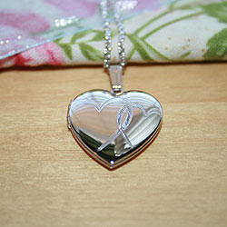 Stylish 19mm Hand-Engraved Double Heart Photo Locket for Girls - Sterling Silver Rhodium - Engravable on back - Includes a 14