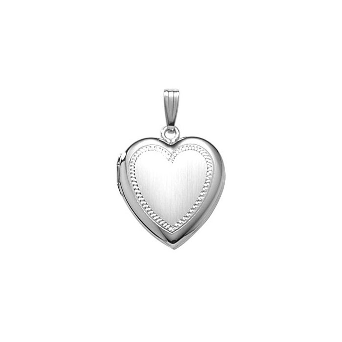 "Elegant Hand-Engraved 19mm Heart Photo Locket for Girls - Sterling Silver Rhodium - Engravable on front and back - Includes a 14"" 1.5mm Grow-With-Me® chain - Adjustable at 14"", 13"", 12"""