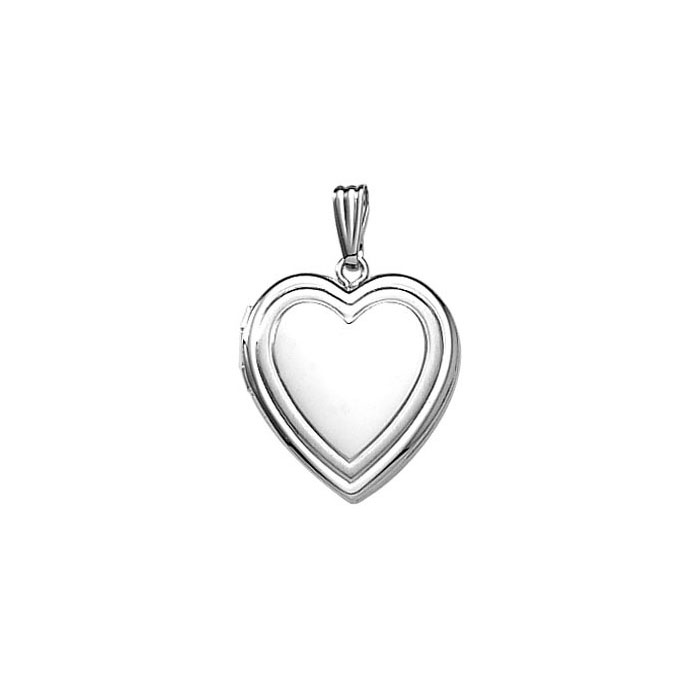 "Elegant Embossed 19mm Heart Photo Locket for Girls - Sterling Silver Rhodium - Engravable on front and back - Includes a 14"" 1.5mm Grow-With-Me® chain - Adjustable at 14"", 13"", 12"""