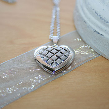 "Gorgeous 19mm Embossed Heart Photo Locket for Girls - Sterling Silver Rhodium - Engravable on back - Includes a 14"" 1.5mm Grow-With-Me® chain - Adjustable at 14"", 13"", 12"""