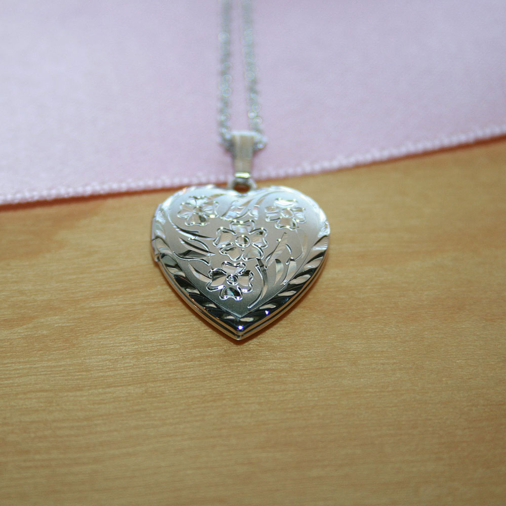 "Gorgeous Hand Engraved 19mm Floral Heart Photo Locket for Girls - Sterling Silver Rhodium - Engravable on back - Includes a 14"" 1.5mm Grow-With-Me® chain - Adjustable at 14"", 13"", 12"" - BEST SELLER"