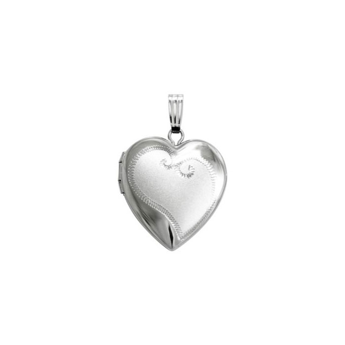 "Gorgeous Embossed 19mm Heart Photo Locket for Girls - Sterling Silver Rhodium - Engravable on front and back - Includes a 14"" 1.5mm Grow-With-Me® chain - Adjustable at 14"", 13"", 12"""