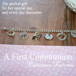 Loved Today and Every Day Thereafter - A First Communion Customer Favorite Engravable Charm Bracelet  – Rembrandt sterling silver double link charm bracelet – Includes seven Rembrandt charms/