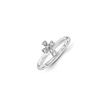 Girls Birthstone Cross Ring - Genuine Aquamarine Birthstone - Sterling Silver Rhodium - Size 5 - BEST SELLER
