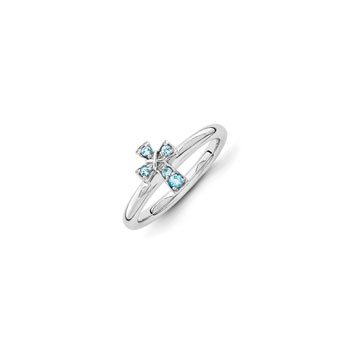 Girls Birthstone Cross Ring - Genuine Blue Topaz Birthstone - Sterling Silver Rhodium - Size 5 - BEST SELLER