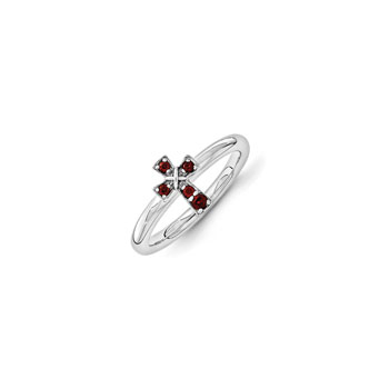 Girls Birthstone Cross Ring - Genuine Garnet Birthstone - Sterling Silver Rhodium - Size 6