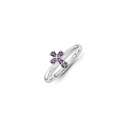 Girls Birthstone Cross Ring - Genuine Amethyst Birthstone - Sterling Silver Rhodium - Size 6/