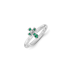 Girls Birthstone Cross Ring - Created Emerald Birthstone - Sterling Silver Rhodium - Size 6/