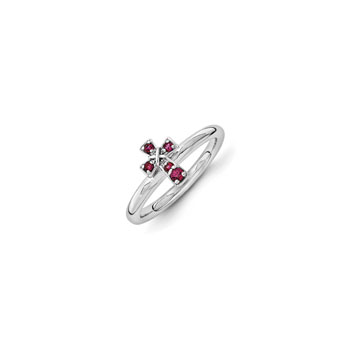 Girls Birthstone Cross Ring - Created Ruby Birthstone - Sterling Silver Rhodium - Size 6
