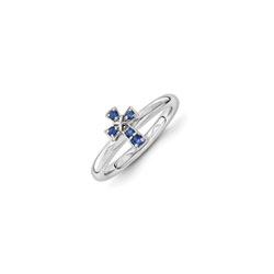 Girls Birthstone Cross Ring - Created Blue Sapphire Birthstone - Sterling Silver Rhodium - Size 6/