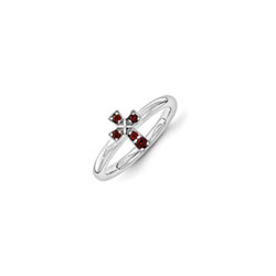 Girls Birthstone Cross Ring - Genuine Garnet Birthstone - Sterling Silver Rhodium - Size 7/