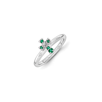Girls Birthstone Cross Ring - Created Emerald Birthstone - Sterling Silver Rhodium - Size 7