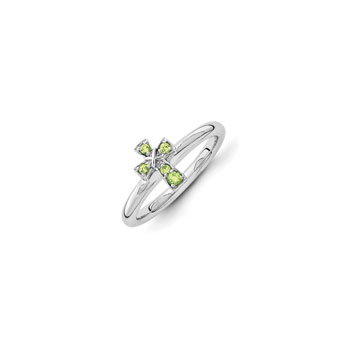 Girls Birthstone Cross Ring - Genuine Peridot Birthstone - Sterling Silver Rhodium - Size 7