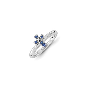 Girls Birthstone Cross Ring - Created Blue Sapphire Birthstone - Sterling Silver Rhodium - Size 7