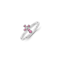 Girls Birthstone Cross Ring - Genuine Pink Tourmaline Birthstone - Sterling Silver Rhodium - Size 7/