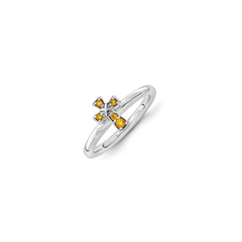 Girls Birthstone Cross Ring - Genuine Citrine Birthstone - Sterling Silver Rhodium - Size 7