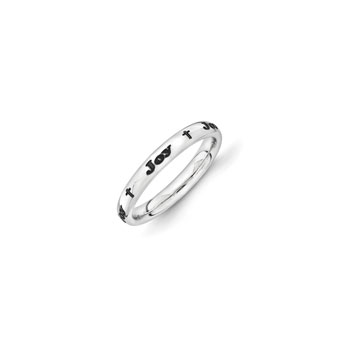 Four Word Personalized Cross Ring for Girls - 3mm Band Width - Sterling Silver Rhodium - Add Your Own Four Names or Words (up to 36 characters) - Size 5 - BEST SELLER
