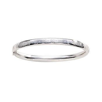 Fine Toddler Bracelets - 14K White Gold Baby, Toddler ABC Bangle Bracelet - Size 5.25""