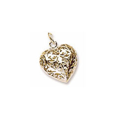 Rembrandt 10K Yellow Gold Filigree Heart (3-Dimensional) Charm – Add to a bracelet or necklace/
