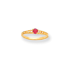July Birthstone - Genuine Ruby 3mm Gemstone - 14K Yellow Gold Baby/Toddler Birthstone Ring - Size 3 - BEST SELLER/