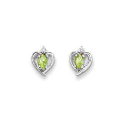 Girls Birthstone Heart Earrings - Genuine Diamond & Peridot Birthstone - Sterling Silver Rhodium - Push-back posts/