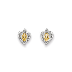 Girls Birthstone Heart Earrings - Genuine Diamond & Citrine Birthstone - Sterling Silver Rhodium - Push-back posts/