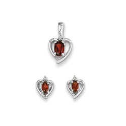 Girls Birthstone Heart Jewelry - Genuine Diamond and Garnet Birthstone - Earrings and Necklace Set - Sterling Silver Rhodium - Grow-With-Me® 16