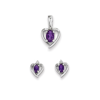 "Girls Birthstone Heart Jewelry - Genuine Diamond and Amethyst Birthstone - Earrings and Necklace Set - Sterling Silver Rhodium - Grow-With-Me® 16"" adj. chain included - Save $10 with this set"