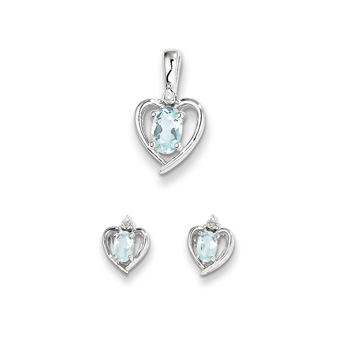 "Girls Birthstone Heart Jewelry - Genuine Diamond and Aquamarine Birthstone - Earrings and Necklace Set - Sterling Silver Rhodium - Grow-With-Me® 16"" adj. chain included - Save $10 with this set"