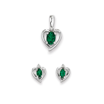 "Girls Birthstone Heart Jewelry - Genuine Diamond and Created Emerald Birthstone - Earrings and Necklace Set - Sterling Silver Rhodium - Grow-With-Me® 16"" adj. chain included - Save $10 with this set"