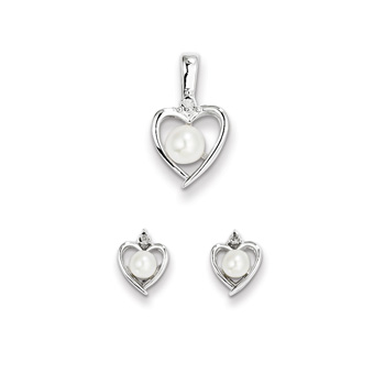 "Girls Birthstone Heart Jewelry - Gen. Diamond Freshwater Cultured Pearl Birthstone - Earrings & Necklace Set - Sterling Silver Rhodium - Grow-With-Me® 16"" adj. chain included - Save $10 with this set"