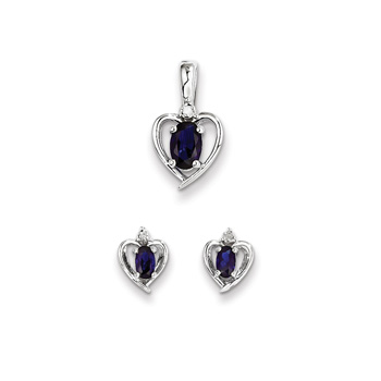 "Girls Birthstone Heart Jewelry - Genuine Diamond & Created Blue Sapphire Birthstone - Earrings & Necklace Set - Sterling Silver Rhodium - Grow-With-Me® 16"" adj. chain included - Save $10 with this set"