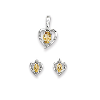 "Girls Birthstone Heart Jewelry - Genuine Diamond & Citrine Birthstone - Earrings and Necklace Set - Sterling Silver Rhodium - Grow-With-Me® 16"" adj. chain included - Save $10 with this set"