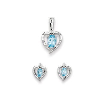 "Girls Birthstone Heart Jewelry - Genuine Diamond & Blue Topaz Birthstone - Earrings and Necklace Set - Sterling Silver Rhodium - Grow-With-Me® 16"" adj. chain included - Save $10 with this set"