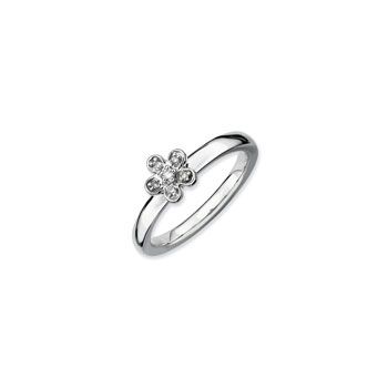 Gorgeous Flower Ring for Girls with Six Genuine Diamonds - Sterling Silver Rhodium - Size 5