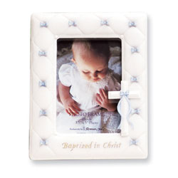 Baptized in Christ Stone Resin Gorgeous Photo Frame - Baby Boy Baptism Gift - BEST SELLER/