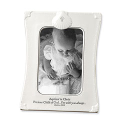 Baptized in Christ - Precious Child Of God - I'm with you always - Matthew 28:20 - Porcelain Keepsake Boy / Girl Baptismal Photo Frame/